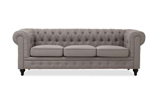 CHESTERFIELD 3-sits Soffa Grå, Chesterfieldsoffor